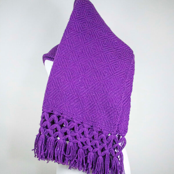 Front view of a Traditional Handwoven Mexican Purple Shawl Scarf Wrap made of cotton on a mannequin