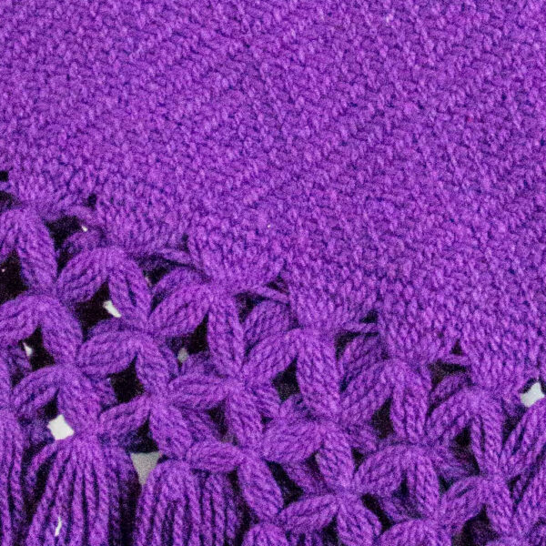 Detail view of a Traditional Handwoven Mexican Purple Shawl Scarf Wrap made of cotton