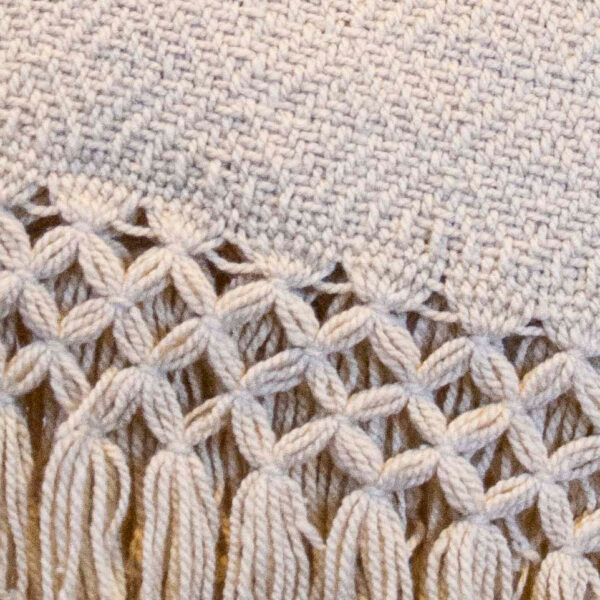 Detail view of a Traditional Handwoven Mexican Beige Shawl Scarf Wrap made of cotton