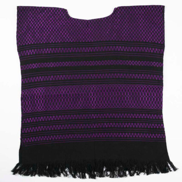 Handwoven Mexican purple huipil blouse front view-051