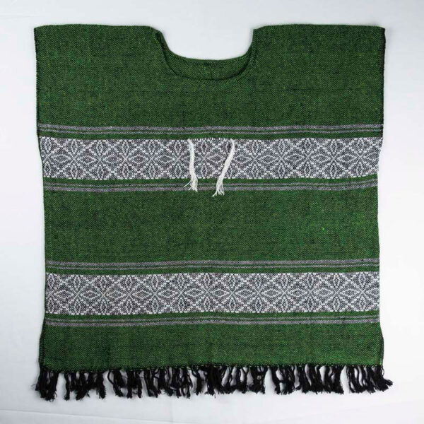 traditional-handwoven -green-mexican-huipil-blouses-front view-072