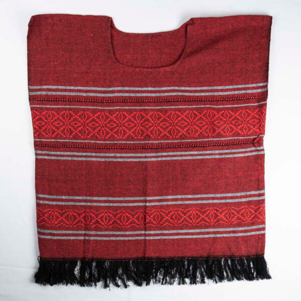 traditional-handwoven -red-mexican-huipil-blouses-front view