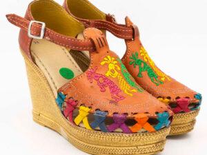 amantli mexican handmade women camelia huarache sandal shoe orange pair view