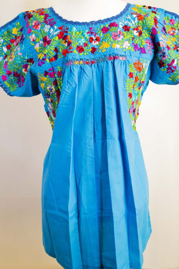 Handmade Traditional Mexican Blue Blouse with Hand-embroidered flowers-002