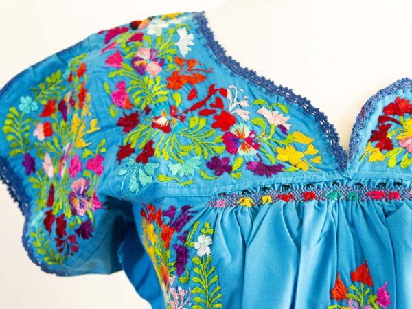 Handmade Traditional Mexican Blue Blouse with Hand-embroidered flowers detail-003