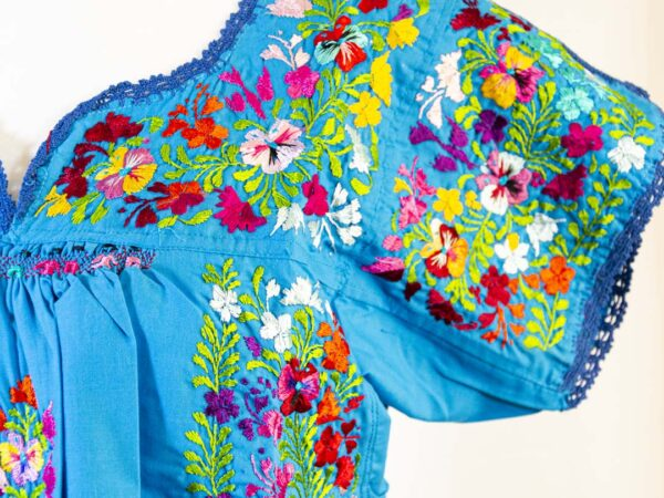 Handmade Traditional Mexican Blue Blouse with Hand-embroidered flowers detail-004