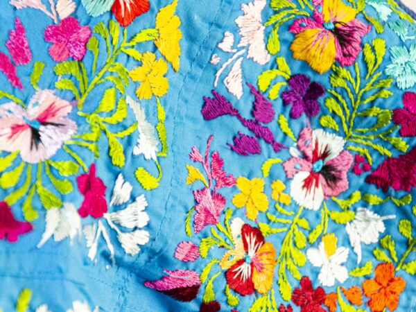 Handmade Traditional Mexican Blue Blouse with Hand-embroidered flowers detail-005