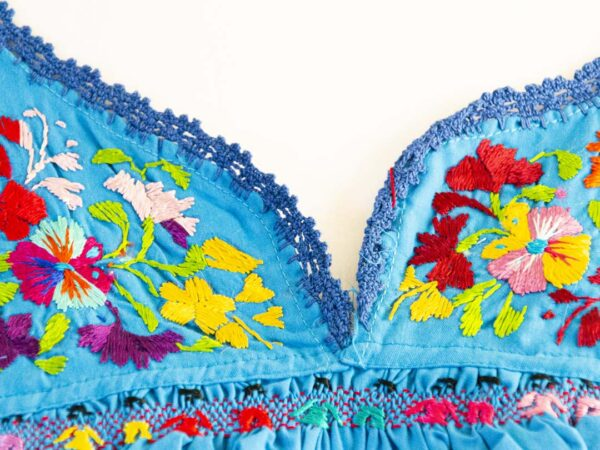 Handmade Traditional Mexican Blue Blouse with Hand-embroidered flowers detail-06