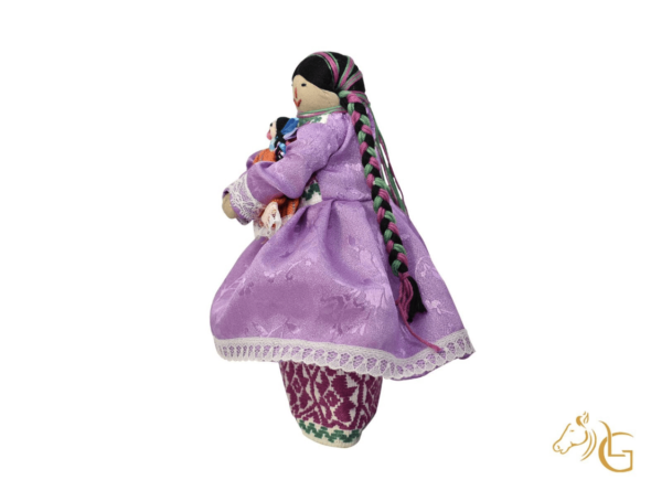 handmade mexican indita peasant rag doll left side profile view