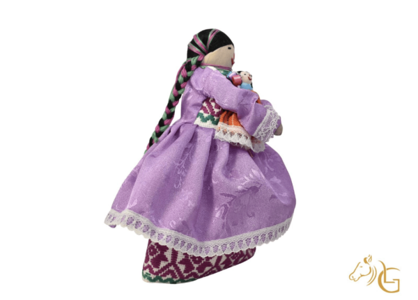 handmade mexican indita peasant rag doll right side profile view